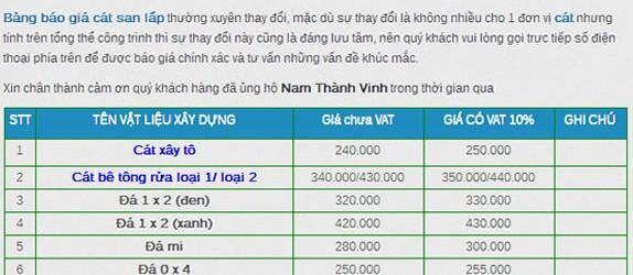 Bảng báo giá cát xây tô 2017 mới nhất tại tphcm. LH 0985581666